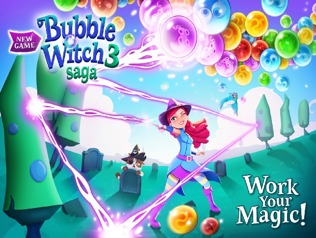 Illustration de l'article sur Bubble Witch 3 Saga est disponible sur mobile